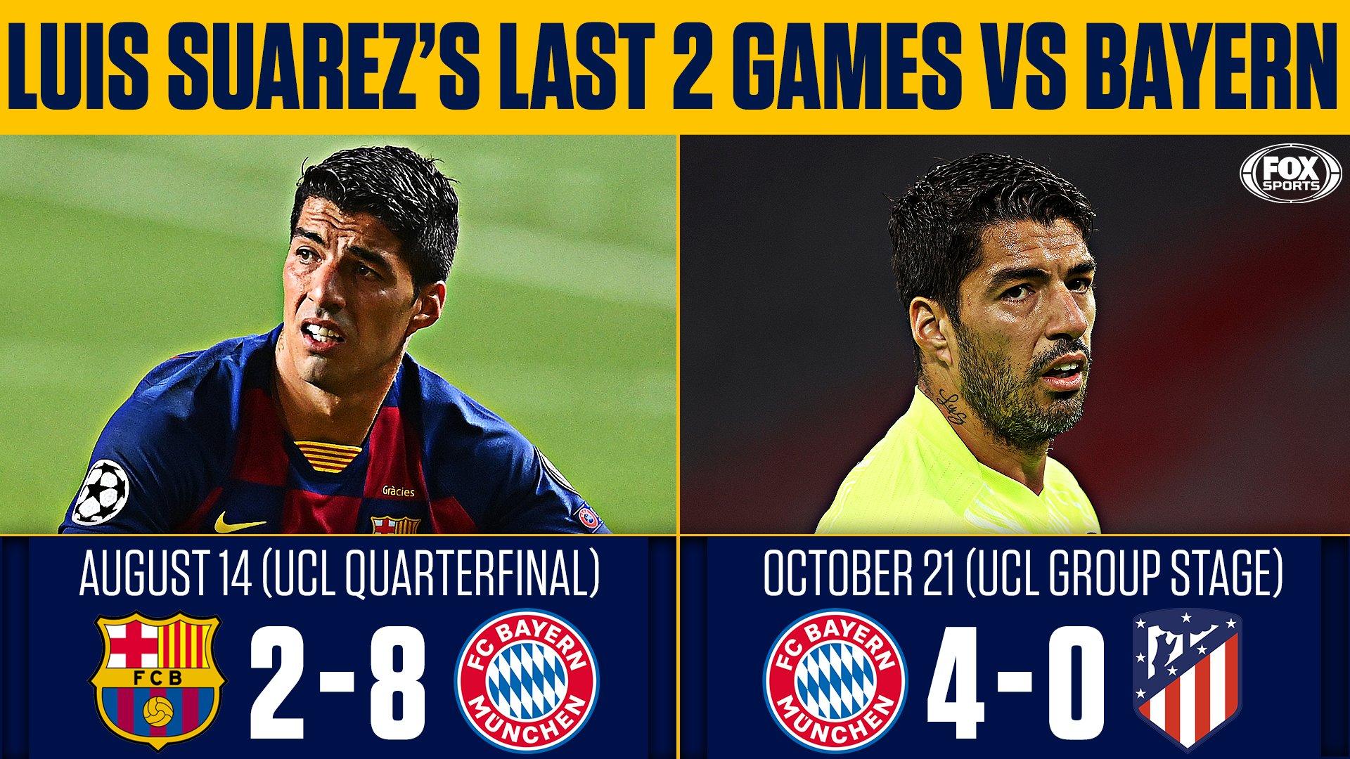 苏亚雷斯欧冠客场连续22场不进球,近2次面对拜仁被灌12球
