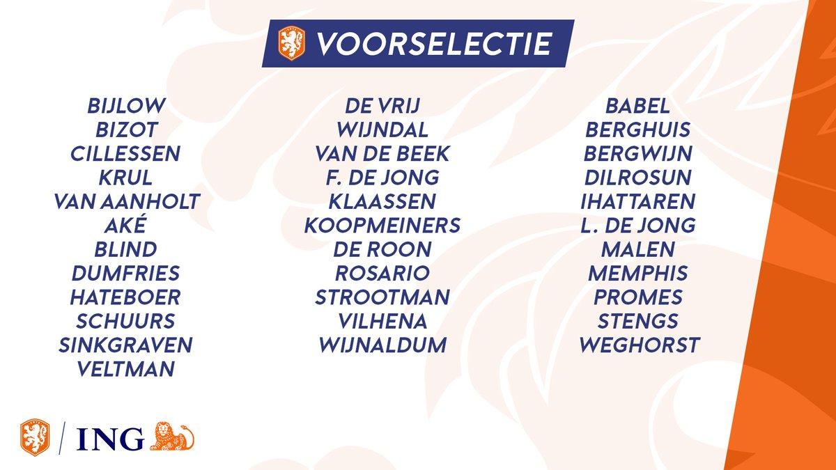荷兰队大名单:德容德佩领衔,范戴克德利赫特双双缺席