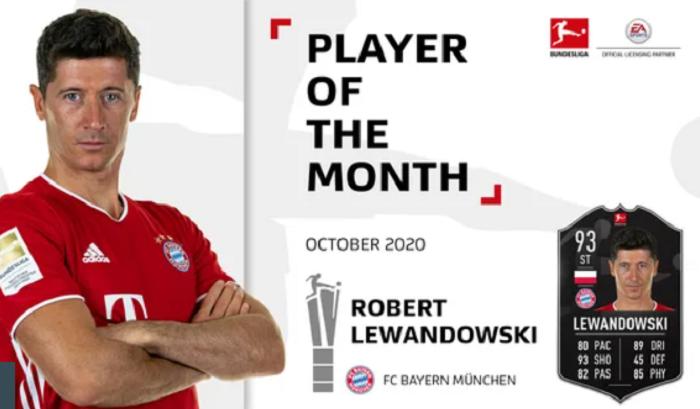 3场9球,莱万当选德甲十月最佳球员