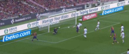 GIF:格列兹曼无私助攻库蒂尼奥破门,巴萨3-0奥萨苏纳