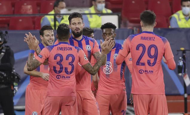 欧冠:吉鲁头顶脚踢大四喜,切尔西客场4-0塞维锁头名